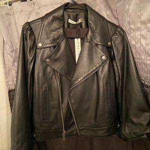 Alice and Olivia Cropped sleeve leather jacket